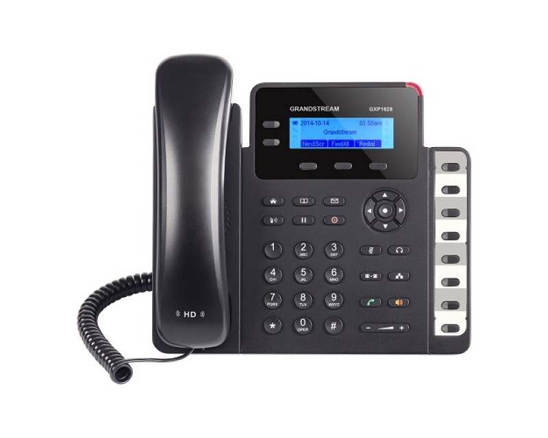 Grandstream GXP1628 Basic IP Phone - PoE, 2 SIP accounts, 2 line keys, 3-way conferencing, Dual-switched Gigabit ports