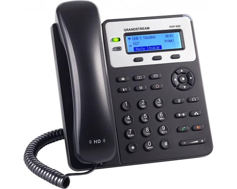 Grandstream GXP1620 Basic IP Phone - 132x48 LCD, 2 SIP accounts, 2 line keys, 3-way conferencing, Dual-switched 10/100 mbps ports